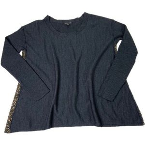 Eileen Fisher Sequin Side Wool Blouse Gray Size XS